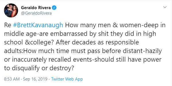 Geraldo Rivera tweet re Kavanaughs wang waving